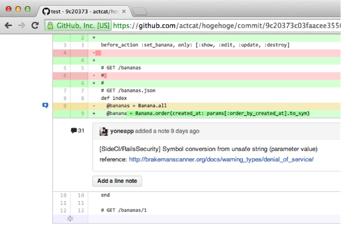 review result on GitHub